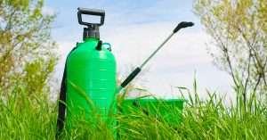 Garden handheld sprinkler in the grass